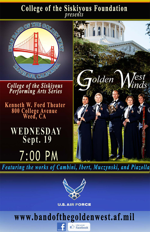 Golden West Winds concert at College of the Siskiyous, September 19 at 7 pm
